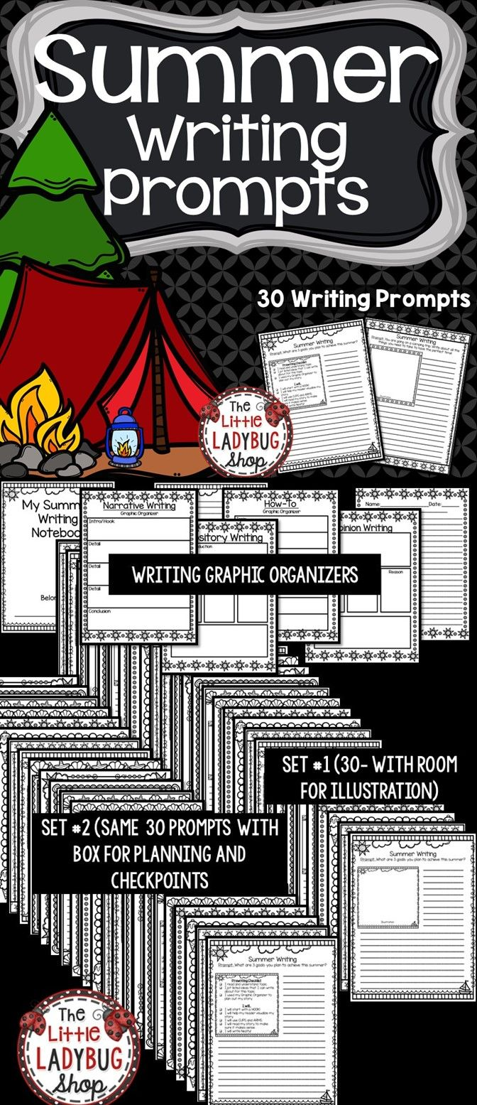 Summer Writing - Includes 2 sets that total 60 writing prompts focused on a summer theme. These writing prompts will encourage fabulous and motivating writers! These prompts are written on FUN paper and will have students engaged with these prompts on summer topics from summer camp, setting summer goals, news articles, and much more!