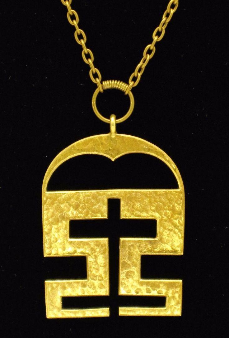 Kalevala Koru (FI), mid-century vintage bronze pendant. #finland | finlandjewelry.com #forsale