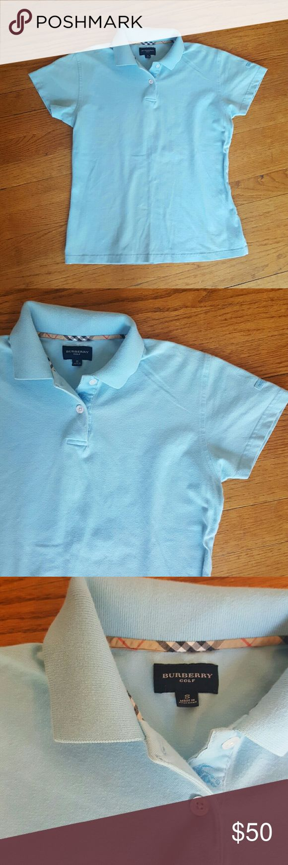 WOMENS BURBERRY POLO SHIRT BLUE SIZE SMALL BURBERRY GOLF LIGHT BLUE POLO SHIRT GUC WOMENS T SHIRT Burberry Tops Tees - Short Sleeve