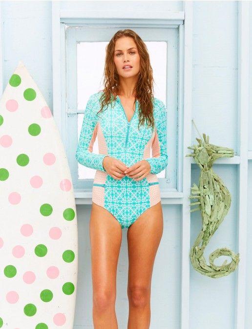 Cabana Life, Monaco Blue Uni-suit, Womens One Piece Swimsuits, Cabana Life 50+ UPV Sun Protective Clothing
