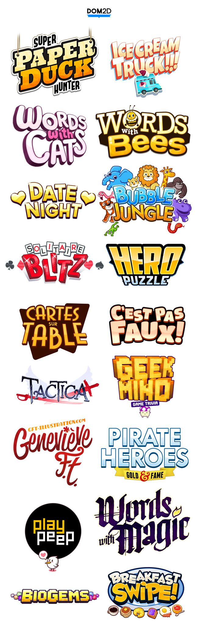 AWESOME game cartoony funky inspiring colorful cheerful funny logo inspiration. Good for all kinds of graphic design and marketing, mobile apps or games. Check out my work on www.Dribbble.com/vmdx Más