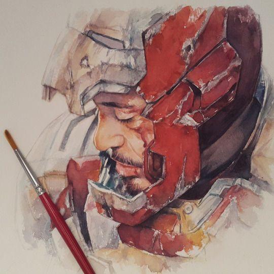 "I don't even like Tony Stark, but this is beautiful. ""Tony Stark"" -- watercolor by leowdrawingclass"