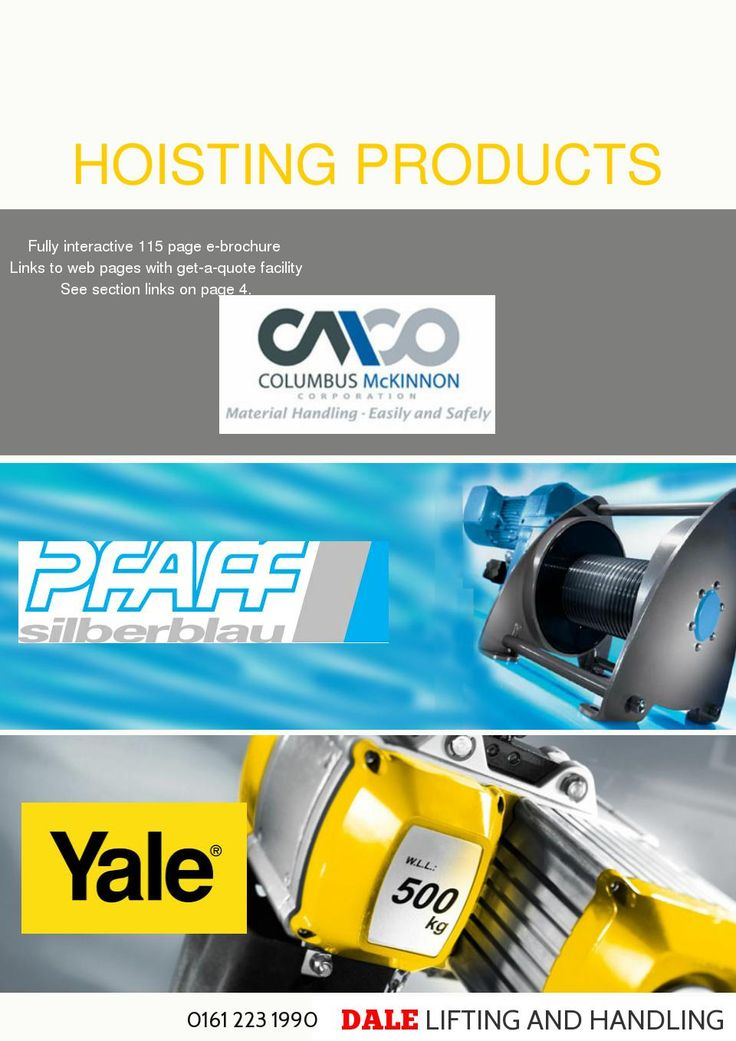 CMCO Hoisting Products DLHONLINE are distributors for CMCO Yale and Pfaff-Silberblau hoisting equipment products. The comprehensive range includes manual and powered hoisting equipment for a safe lifting and handling of loads ranging from 125 kg to 20000 kg  - made with simplebooklet.com