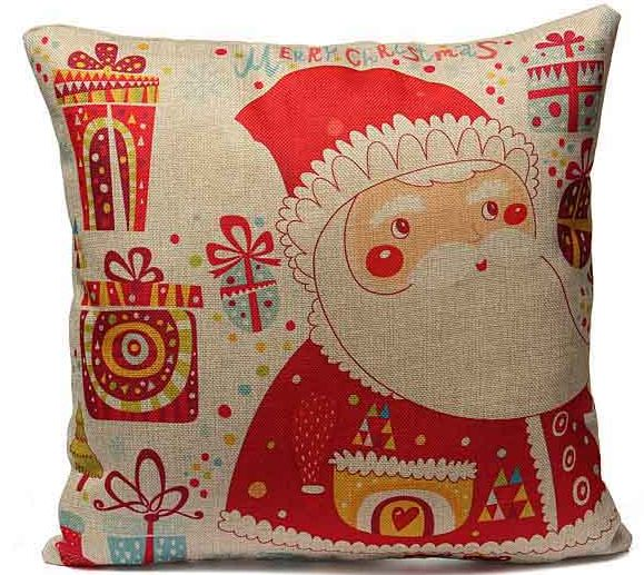 Christmas Print Pillow Case Santa Claus Reindeer Cushion Cover. ECA Listing By Vamco Miner, Montenegro