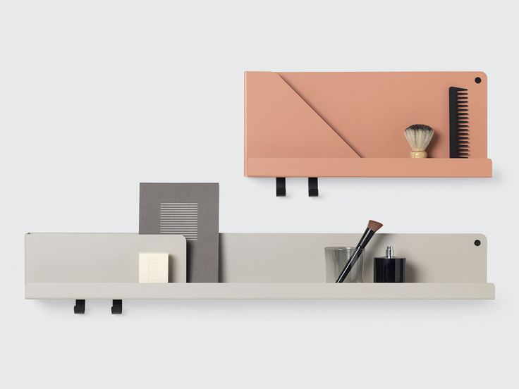 The Muuto Folded Shelves large are based on a simple sheet metal bending technique which creates pockets which hold and separate your items.
