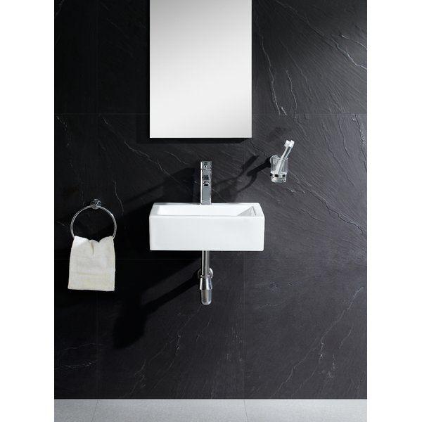 Vitreous China Rectangular Wall Mount Bathroom Sink Wall Mounted