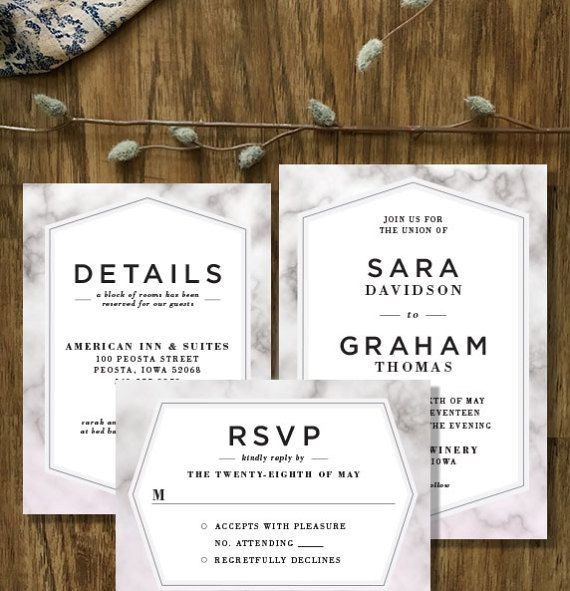 The Sara Custom Modern Marble Wedding Invitation Suite by Mabe Design Co. // With Matching RSVP and Details Cards // Professionally Printed