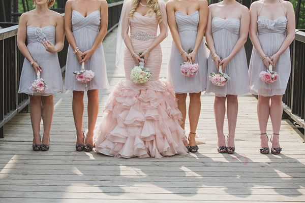 Pink and Gray Bridesmaids   Janine Deanna Photography   Glamorous Pink and Gray Mountain Wedding with a Blush Wedding Dress