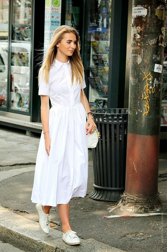 White flared shirt dress