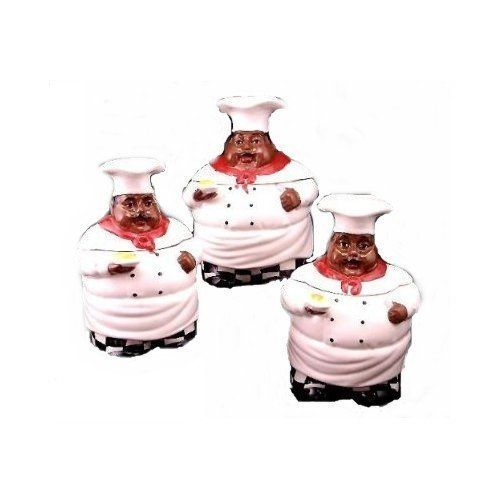 "Kitchen Decor 3PC Chef Canister Set African American Guys by Marcel Imports. Save 10 Off!. $62.95. Traditional-Aunt Jemima/Chef Item.Enjoy it displaying it on your Favorite *Kitchen or Dinning area.C. 3PC CANISTER SET. NO GASKET SEAL ON THE LIDS. THIS CANISTERS DO NOT COME WITH RUBBER SEAL LIDS SITS ON THE CANISTERS. LARGE 10""H. * MEDIUM * SMALL * GENERAL DESCRIPTION FOR ALL CHEF/AUNT JEMIMA ITEMS * HAND-PAINTED 100% * PURE CERAMIC * DETAIL WORK TO GIVE IT THE REAL LOOK * Faces look…"