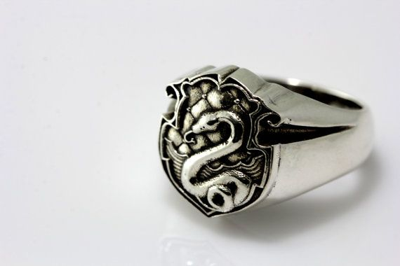 New Hogwarts slytherin crest Ring Silver Mens by CNXSilverRing