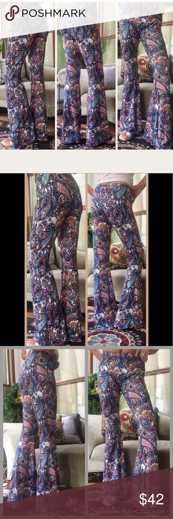 """Silky stretch Bohemian Flare TALL LONG 34"""" Pants NEW! Silky stretch BoHo flare pants the one pair that is long enough!! I'm 5'11"""" and these fit me wonderfully. Size large will fit size 8 size 10 and size 12. These pants fit like lingerie pants but look stunning enough to wear anywhere Pants Boot Cut & Flare"""