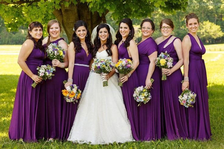 Bridesmaids in Henkaa's Sakura Maxi Convertible Dresses in Plum ...