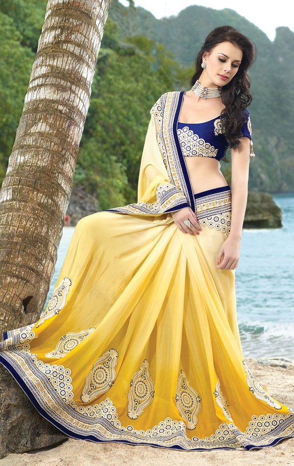 Lovely Lemon Yellow Georgette Saree With Blouse (VIVFOR2212) - OnlineDesignerStore.com