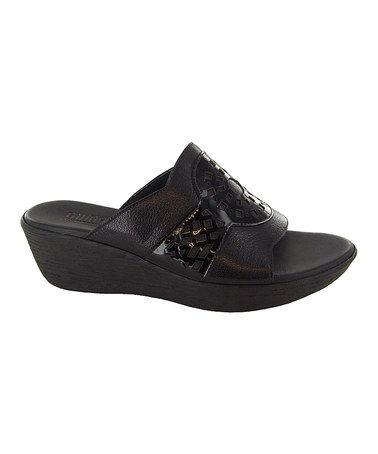 Look what I found on #zulily! Black Miya Leather Slide by Munro Shoes #zulilyfinds