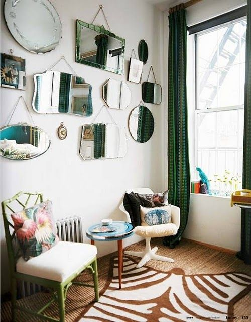 Love the mirror wall! A mirror collage would be great on the wall of our small dining room.