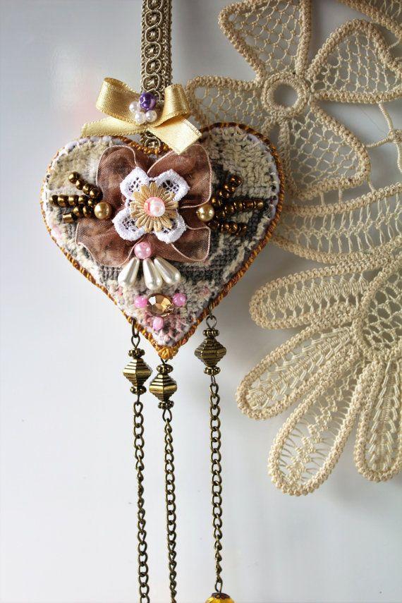 Shabby chic heart decor Heart wall hanging Fabric by MyFairyHearts