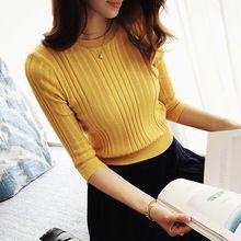 El nuevo 2017 de la media manga de algodón de Cuello Redondo suéter cabeza de la manga femenina camisa de manga cinco sólido apretado suéter de reparación delgada(China (Mainland))