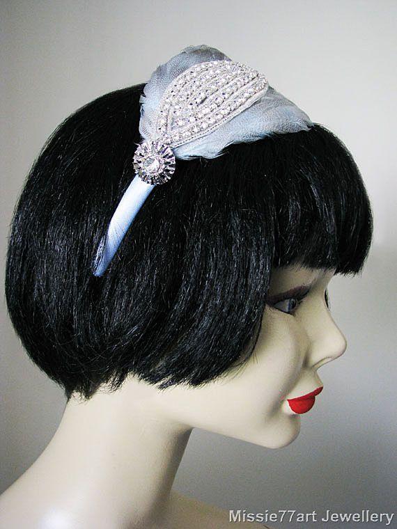 Something Blue Art Deco Feather Rhinestone by Missie77artJewellery