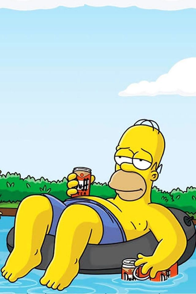 Homer Simpson relaxing with a beer.