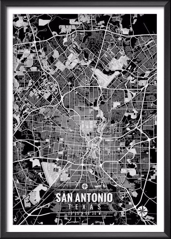 San Antonio Texas Map with Coordinates - Ideate Create Studio
