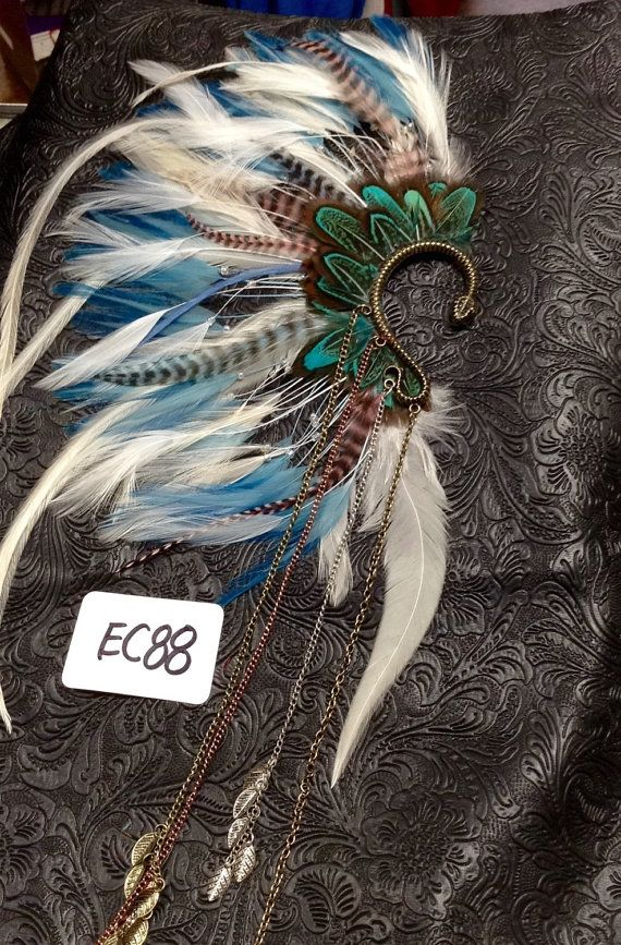 OOAK Handcrafted Tribal Feathered Ear Cuff // by ThatOldThang