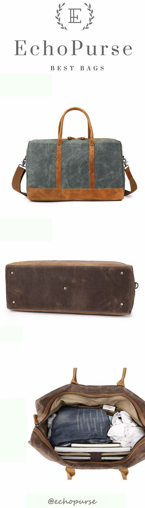Vintage Style Men's Travel Bag, Aqua Green Crazy Horse Leather Handmade Canvas Duffel Bag 907