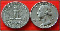 США квотер 25 центов 1962 монетный двор D Рузвельт СЕРЕБРО