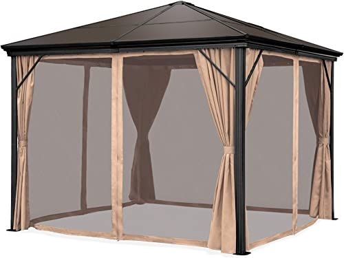 New Best Choice Products 10x10 Foot Outdoor Aluminum Frame Hardtop Gazebo Canopy Backyard Garden W Side Shade Curtains Mosquito Bug Nets Brown Online Thee In 2020 Hardtop Gazebo Gazebo Gazebo Canopy