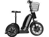 $699.00 The MotoTec Electric Powered Trike aka Personal Transporter is a three wheel electric scooter that you can ride while sitting or standing, this makes it very convenient for use at events, security and warehouse floor operations or for just plain fun! It's like a three wheel Segway but at a fraction of the price! Powered by an 800 watt front wheel hub motor with speeds up to 25 miles per hour. It can achieve a 15-20 mile range on a full charge.