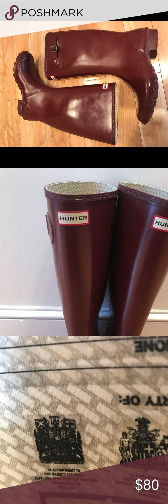 Dark red Hunter tall rain boots Wide calf Hunter tall rain boots in EUC. No damage. Hunter Shoes Winter & Rain Boots