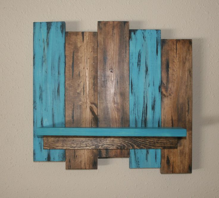 Rustic Wood Wall Shelf  Reclaimed Wood Shelf  Distressed Pallet Wood   Primitive Home Decor