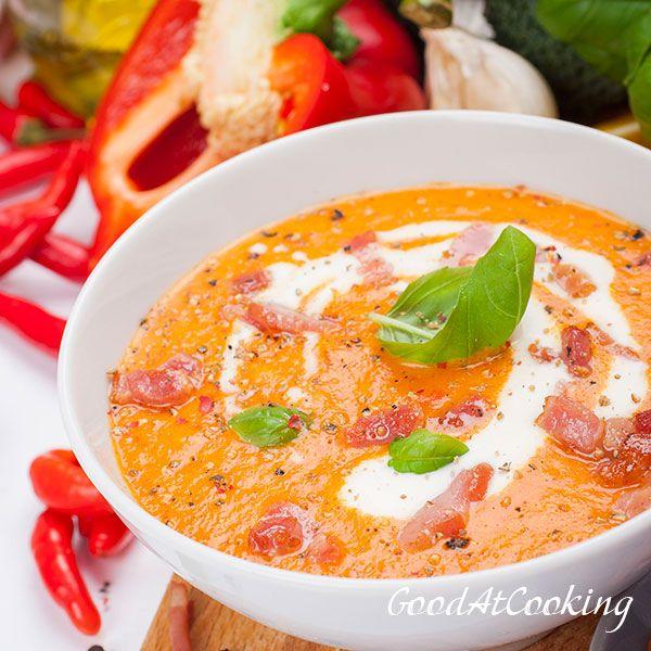 Wortel-paprika soep met spek