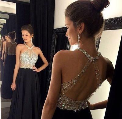 New Arrival A-line Halter Open Back Black Chiffon Skirt Long Prom Dress