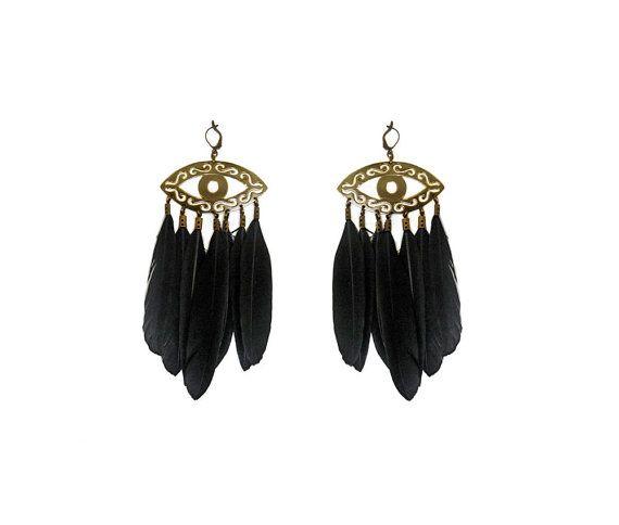 Brass evil eyes  black feathers  long by SANKTOLEONOJEWELRY, $54.00