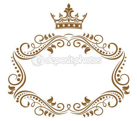 elegante cornice reale con corona isolato su sfondo bianco