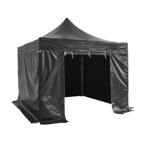 Folding Tent PRO Series 50mm Aluminium Structure + 4 Sides PVC 520g/m2 Tarpaulin 3x3m for Professional Needs or Daily Use Black