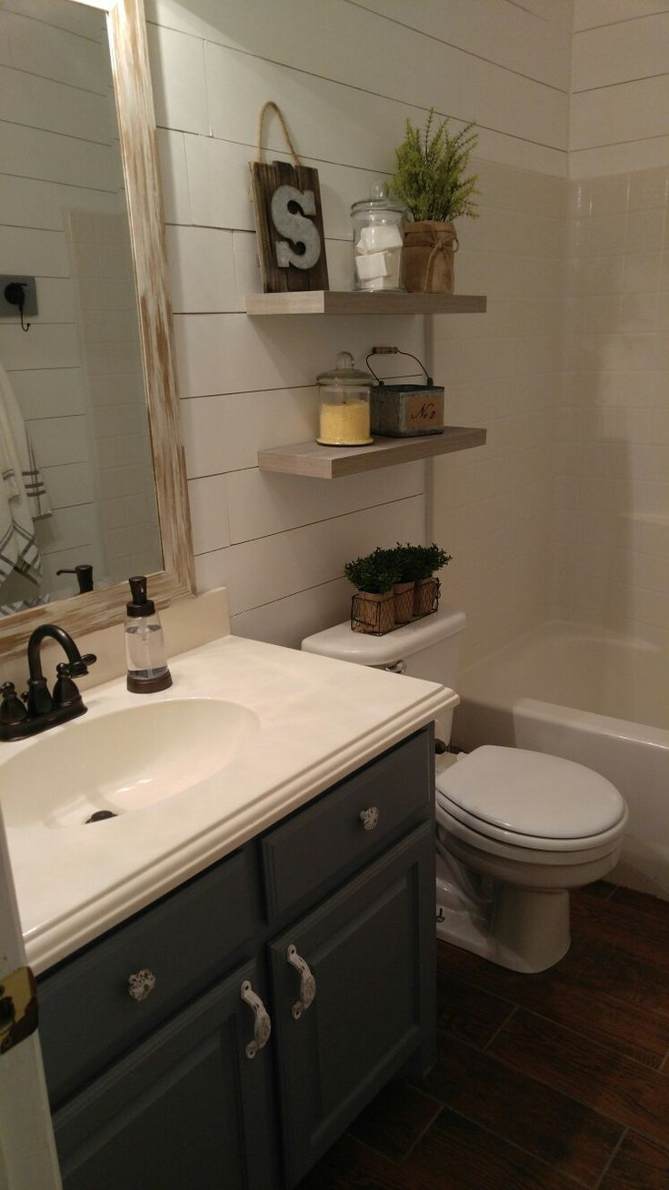 Farmhouse Bathroom Floating Shelves Diy Shiplap Diy