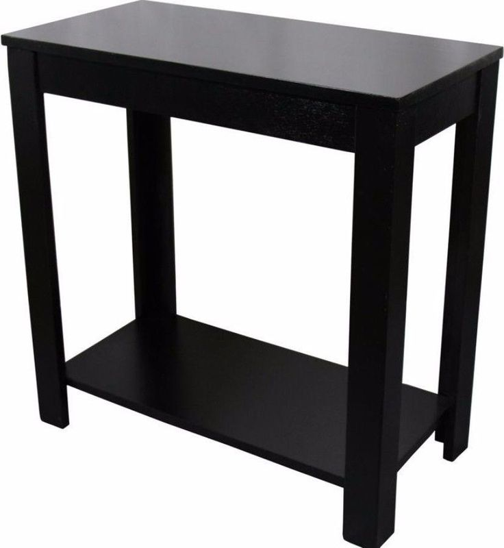 Stylish Black Side Table With Storage Shelf Wooden Living Room Furniture New #table