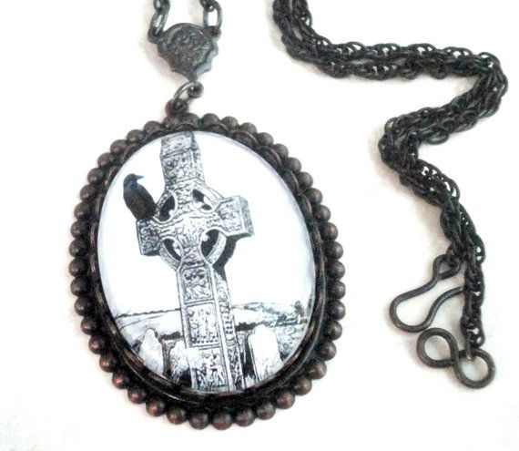 Gothic Jewelry Necklace Black and White The Raven by pink80sgirl, $52.00