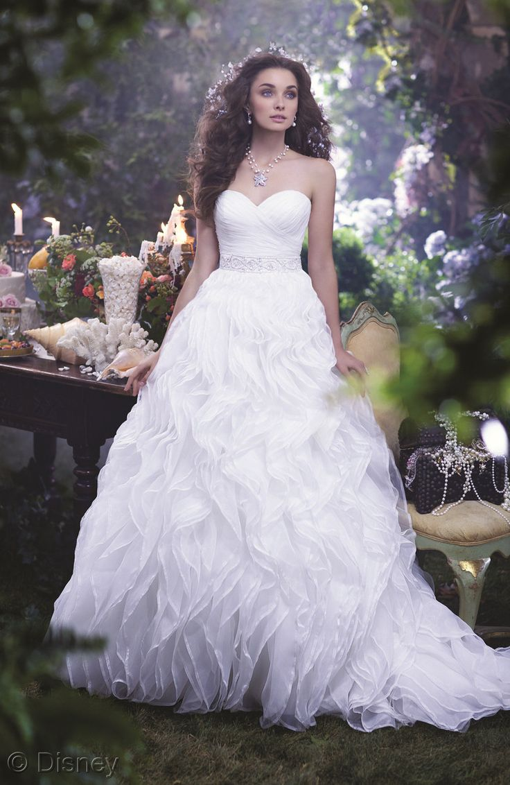 25 best disney inspired wedding dresses ideas on pinterest under the seasneak peek of the 2014 disneys fairy tale weddings by alfred angelo ariel inspired gown ombrellifo Image collections