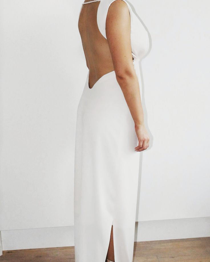 White Promdress backless Backless - details