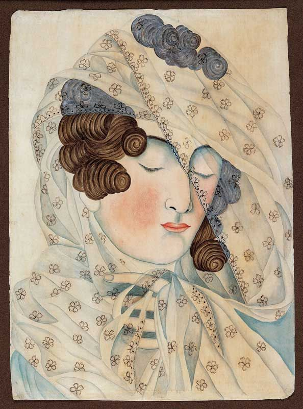 Woman in a Veil by Emily Eastman, c1825