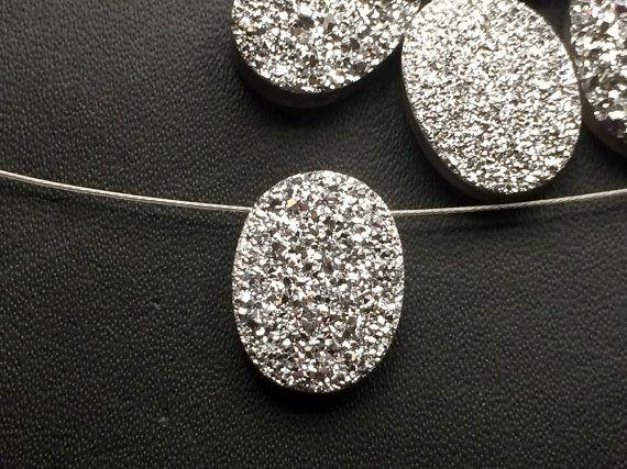 4 Pcs Silver Druzy Side Drilled Titanium Silver by gemsforjewels