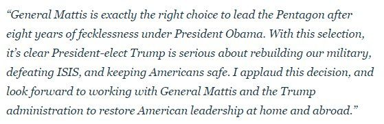 Paul Ryan @SpeakerRyan 23h23 hours ago  General Mattis is exactly the right choice to lead the Pentagon after 8 years of fecklessness under President Obama.  My full statement ↓