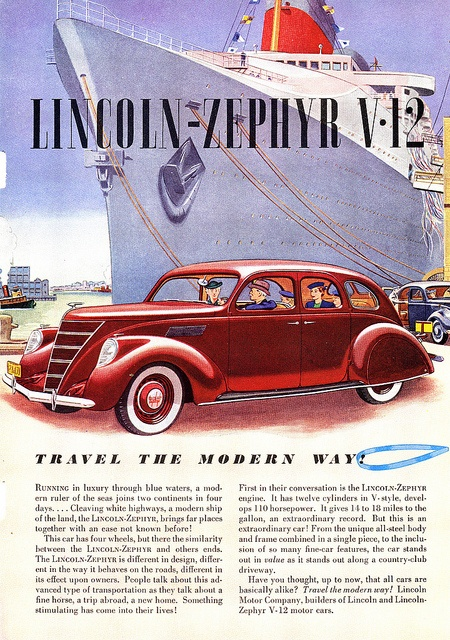 1937 Lincoln Zephyr | Flickr - Photo Sharing!American Cars, New Objectivity, Lincoln Zephyr, Harlem Renaissance, 1937 Lincoln, Art Deco, 1880 1945 Automobiles, Photos Shared, Automotive Advertising