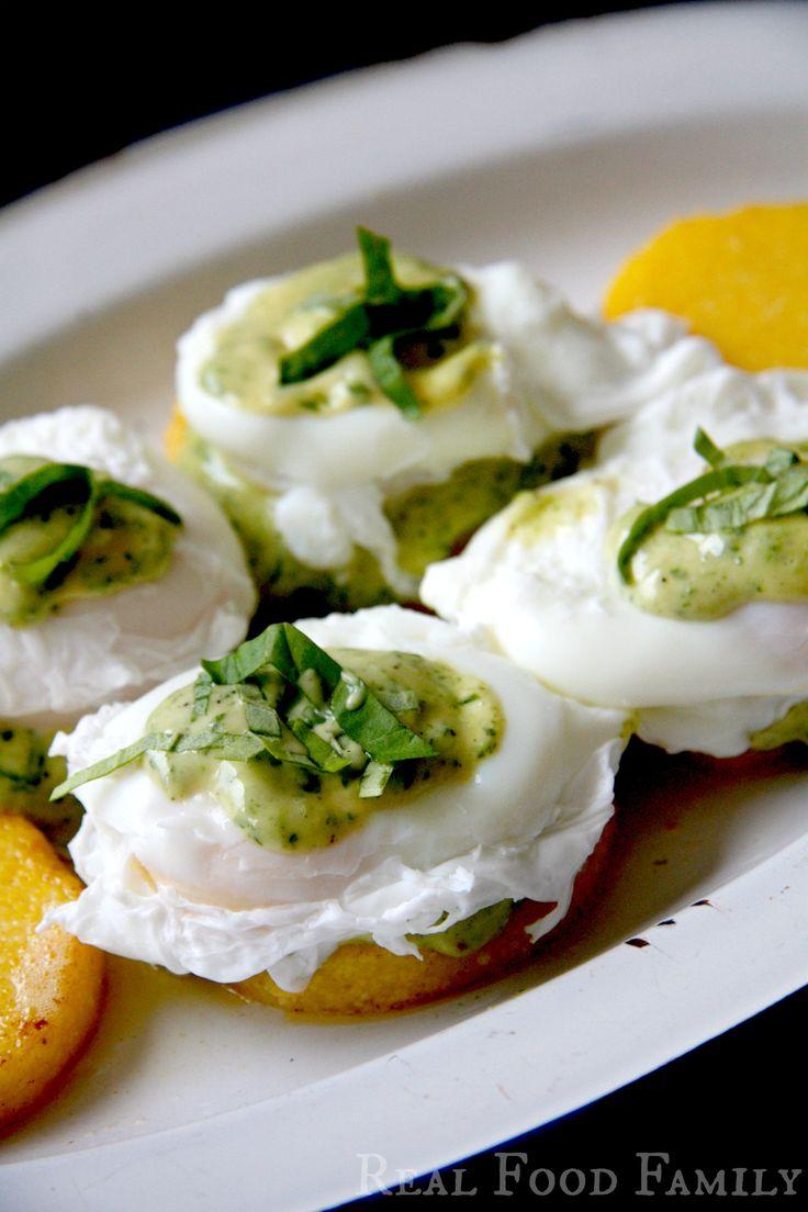 Eggs Benedict on Polenta Cakes with Pesto Hollandaise