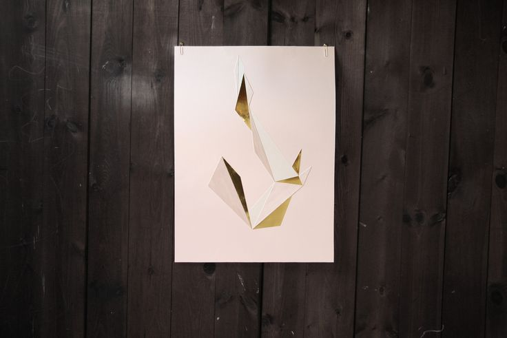 Geometric paper cut formation by Laura Faurschou. 50x70 cm in brass, nude, wood