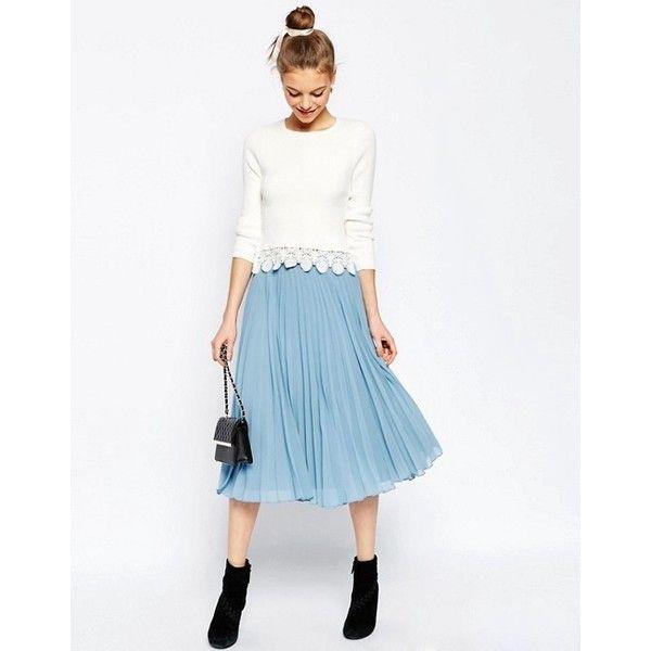 ASOS Pleated Midi Skirt (2.490 RUB) ❤ liked on Polyvore featuring skirts, knee length pleated skirt, pleated midi skirt, white knee length skirt, white pleated skirt and midi skirt
