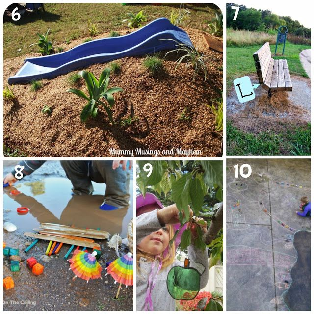 Learn with Play at home: 10 Backyard Play Ideas. Creative ideas for learning and exploring through play outside!